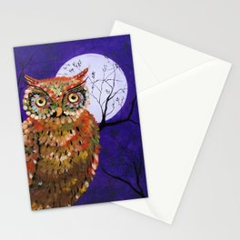 Owl, Owl Painting, Moon, Night Sky, Purple, by Faye Stationery Cards