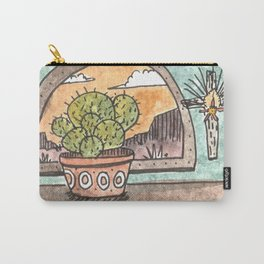 New Mexico Sunset With Cactus & Cross Carry-All Pouch