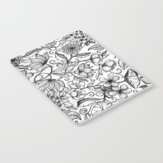 Hand drawn pencil floral pattern in black and white Notebook