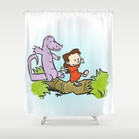 hobbes Shower Curtains featuring Syynove and Drake  by Jaselin Prints
