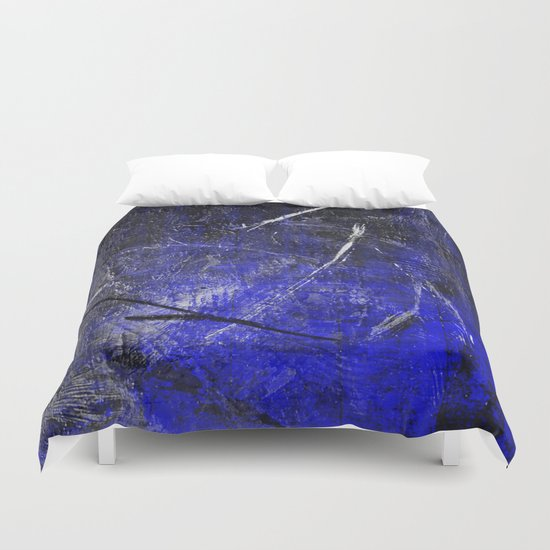 In The Dead Of Night - Textured Abstract In Blue, Black and White Duvet Cover