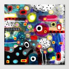 Abstract Grungy Distressed Art Dark Polka Dots Canvas Print