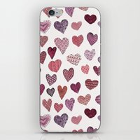 artsy iPhone & iPod Skins featuring Artsy Hearts by Shifra Whiteman