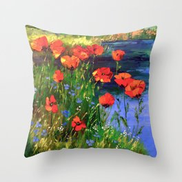 Poppies at the pond Throw Pillow