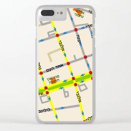 Tel Aviv map - Rothschild Blvd. Hebrew Clear iPhone Case