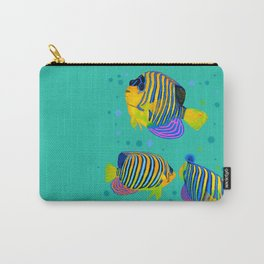 Angelfish swimming amongst bubbles Carry-All Pouch