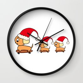Christmas Dogs on Skateboards with Santa Hats Wall Clock