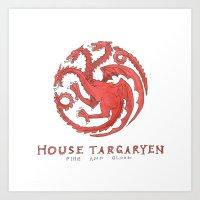 targaryen Art Prints featuring House Targaryen- Game of Thrones by 366Sketchbook