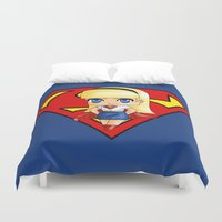 supergirl Duvet Covers featuring Chibi Supergirl by artwaste