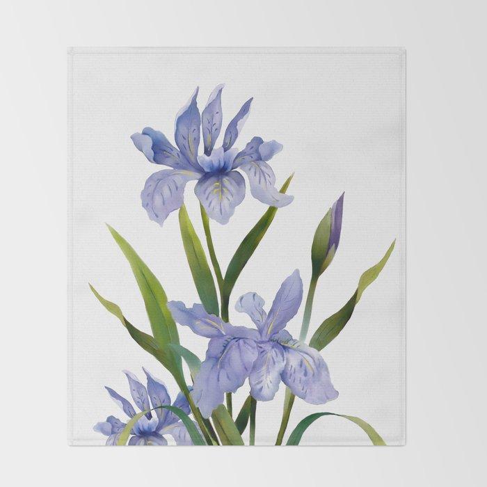 Purple Iris Throw Blanket