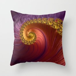 Purple Gold and Red Fractal Spiral Throw Pillow