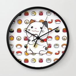 sushinya kawaii cat Wall Clock