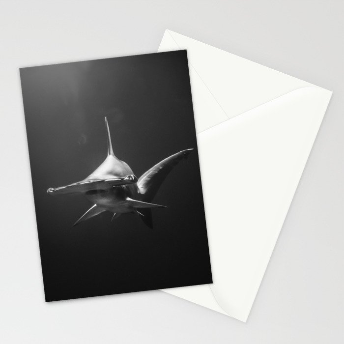 Hammerhead Shark (Black and White) Stationery Cards