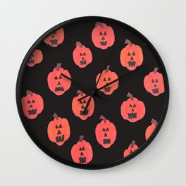 Halloween Jack-o-Lanterns on Black Wall Clock