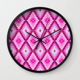 Fuchsia Kilim Moroccan print // Pussy Power Wall Clock