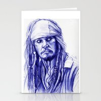jack sparrow Stationery Cards featuring Jack Sparrow by Luna Perri