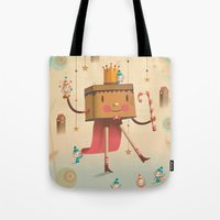 king Tote Bags featuring KIng by Cristian Turdera