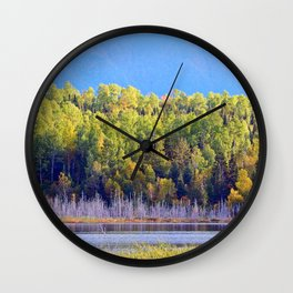 Lakeside Forest Below the Mountain Wall Clock