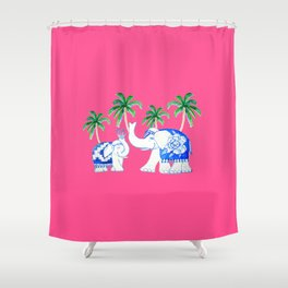 Chinoiserie Elephants on Fuchsia Shower Curtain