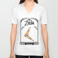 legend of zelda V-neck T-shirts featuring Zelda legend - Boomerang by Art & Be