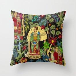 Frida's Garden, Casa Azul Lush Greenery Frida Kahlo Landscape Painting Throw Pillow