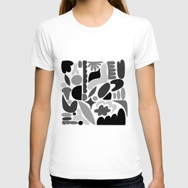 Modern Organic Abstract / Black and Grays on a White Background T-shirt
