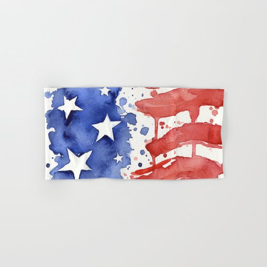 American Flag Watercolor Abstract Stars and Stripes Hand & Bath Towel