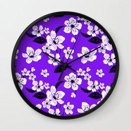 Light Purple & White Sakura Cherry Tree Flower Blooms on Dark Purple - Aloha Hawaiian Floral Pattern Wall Clock