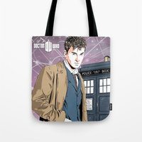 david tennant Tote Bags featuring Doctor Who - David Tennant by Averagejoeart