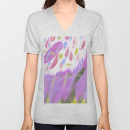 Hand painted neon pink lime green watercolor brushstrokes Unisex V-Neck