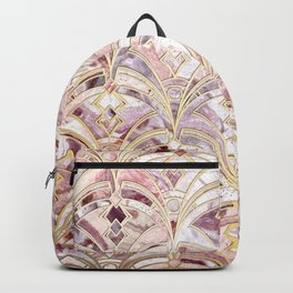 Dusty Rose and Coral Art Deco Marbling Pattern Backpack