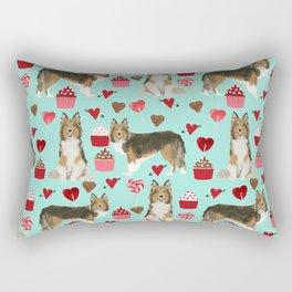 Sheltie shetland sheepdog valentines day love hearts cupcakes dog gifts puppies pet friendly art Rectangular Pillow