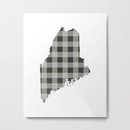 Maine Plaid in Gray Metal Print