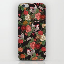 Opossum Floral Pattern (with text) iPhone Skin