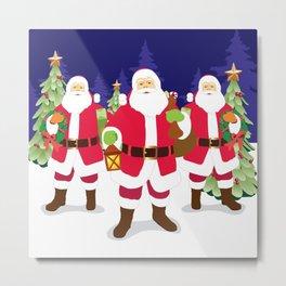 Santa & Santa & Santa Metal Print
