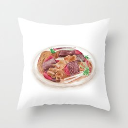 Watercolor Illustration of Chinese Cuisine - Hmong's duck with rice cake supplemented duck blood   血粑鸭 Throw Pillow