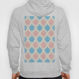 Coral blue ivory vintage chic floral damask pattern Hoody