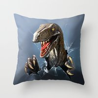 dinosaur Throw Pillows featuring dinosaur by Antracit