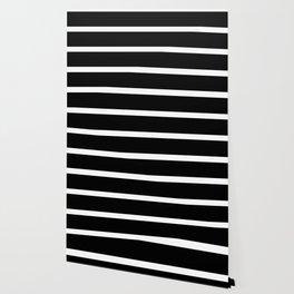 Black and White Horizontal Stripes Pattern Wallpaper