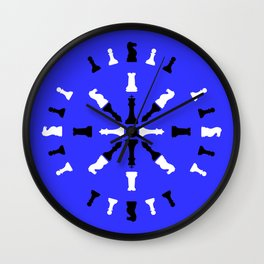 Chess Piece Design - Black and White Wall Clock
