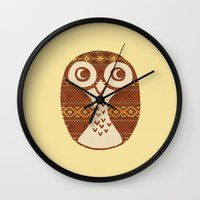 navajo Wall Clocks featuring Navajo Owl  by Terry Fan