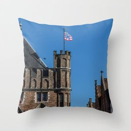 Bruges tower and flag Throw Pillow