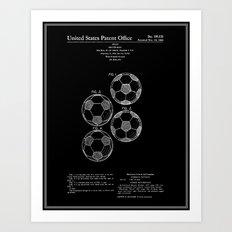 Soccer Ball Patent - Black Art Print