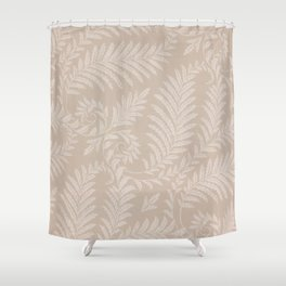 Fancy Light Tan Fern Leaves Scroll Damask on Taupe Shower Curtain