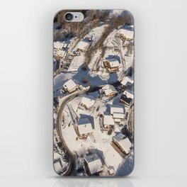 mountain village from the sky iPhone Skin