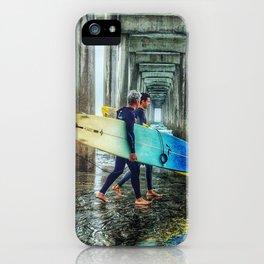 Surfers, La Jolla Shores Pier, San Diego, California. iPhone Case