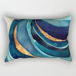 Abstract Blue with Gold Rectangular Pillow