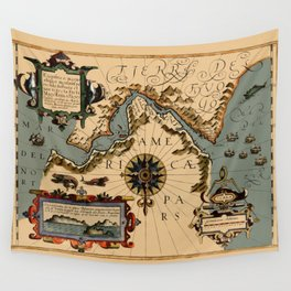 Map Of The Strait Of Magellan 1611 Wall Tapestry