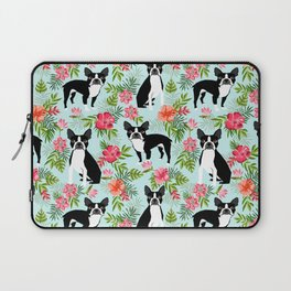 Boston Terrier florals tropical hawaiian print dog breeds custom dog art pet portraits Laptop Sleeve