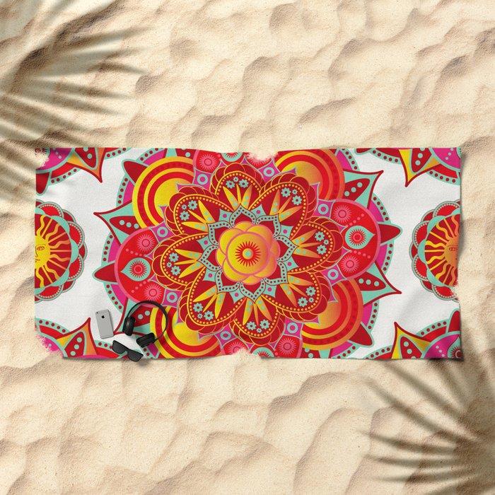 Root Chakra Mandala Beach Towel